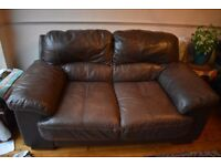 FREE - 2 Seater Brown Leather Sofa