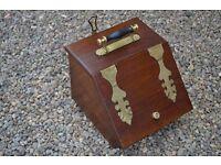 Victorian Oak and Brass Coal Box
