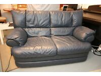 Exccelent condition blue leather sofa and matching armchair