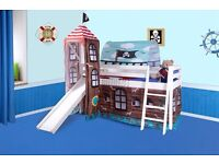 Pirate Mid-Sleeper 3ft Bed with Slide and Tower. **NEW**