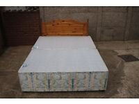 King Size Base with Four Drawers and Mattress + Pine Headboard