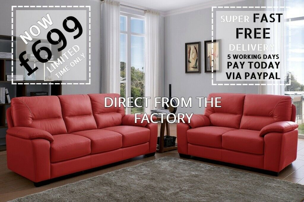 Cool Brand New Cheap Leather Sofa Suite Red Leather 3 2 Sofa Set Free And Fast Delivery High Quality In Manchester City Centre Manchester Gumtree Interior Design Ideas Clesiryabchikinfo