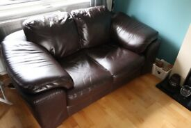Two brown Nuovo Pelle Brown Leather Sofas