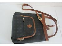 Brown italian leather bag with shoulder strap