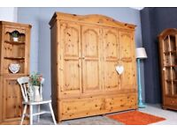 DELIVERY OPTIONS - QUADRUPLE PINE WARDROBE QUALITY MADE 2 LARGE DRAWERS WAXED