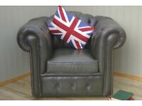 Stunning Green Camel Back Leather Chesterfield Club Chair.