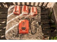Hilti charger + 3 x Hilti batteries