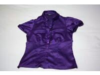 Purple satin top: Size 8