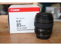 Canon EF 85mm f/1.8 DSLR lens