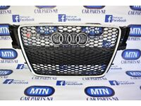 AUDI A5 B8 RS5 FRONT GRILL GLOSS BLACK AND SILVER 2007 - 2012 APROX FITTING FITS B8 MODELS