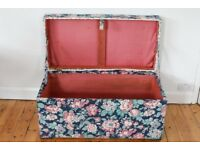 Large upholstered wooden chest trunk ottoman linen box storage box
