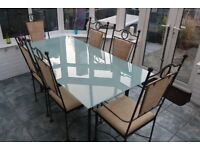 Wrought Iron Dining Table Set & 8 Chairs