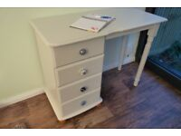 Upcycled, Hand-Painted Solid Pine Desk, with Four Drawers (painted in Laura Ashley Dove Grey