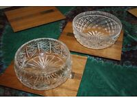 2 cut crystal fruit bowls. ( 1 is etched Waterford )