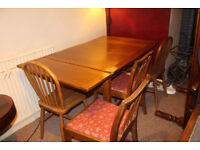 1930's Oak draw leaf dining table plus 4 chairs