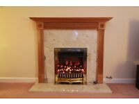 Marble fireplace and coal effect gas fire