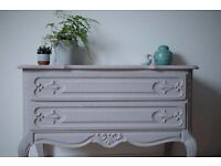 VINTAGE STYLE GREY HAND PAINTED DRAWERS