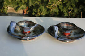 Unusual Pair of Rossa Pottery Glazed Candle Holder Irish Studio Pottery Candlestick Art