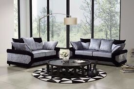 ►►►Same Day Cash On Delivery►►►New Extra Padded Dino Diamond Crushed Velvet Corner Sofa Or 3+2 Sofa