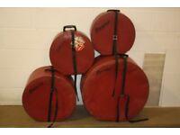 Vintage 1970s Premier Red Drum Kit Cases - Set of 4 Pieces