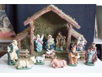 Vintage Porcelain Christmas Decorative Nativity Set, Boxed and plays music