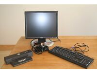 Dell docking station, flat panel monitor,keyboard, adapter