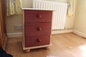 Cream and Red Bedside table with 3 drawers