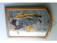 Delightful Edwardian hand-painted mirror with kingfisher and bullrushes