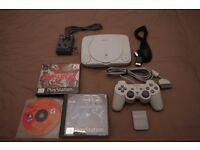 Sony Playstation PS1 With Metal Gear Solid, G-Police, Memory Card, Dual Shock Controller & Cables