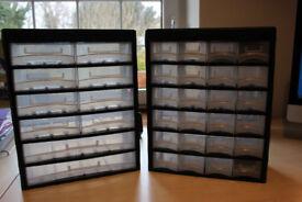 TWO PLASTIC PARTS STORAGE BOXES