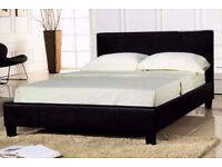 BLACK LEATHER LOW FRAME BED WITH MATTRESS