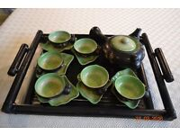 """Vietnamese tea set and tray set with wonderful beautiful green """"cracked glass"""" bamboo style."""