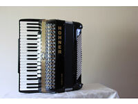 Hohner Atlantic IV Accordion 120 MP in Black with case and trolley