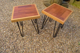 A Pair of Reclaimed Mahogany Parquet Flooring End/Side Table with Oak Surround