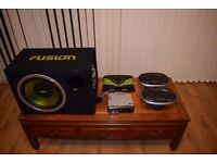 Fusion Amp , Sub-woofer with JVC Receiver and speakers