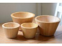 4x wooden bowls