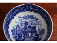 Antique Wedgwood Ferrara Fruit Bowl 21.5cm Across Blue & White Nautical Scene Vintage Maritime