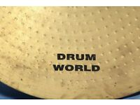 "Was £20 NOW £12!!! 20"" Drum World Heavy Crash / Ride Cymbal. No cracks or splits. Nice big sound."