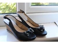 Lotus wedge sandals, leather, navy, size 4, worn but still in good condition
