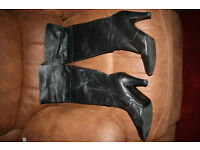 Thigh length boots black leather £20
