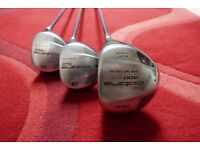 King Cobra SZ right hand titanium woods set with graphite shafts with Cobra head covers - D, 3 &5