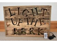 Custom Made Smartphone / App Controlled Led Back-lighten 3D Rustic Wooden Sign.