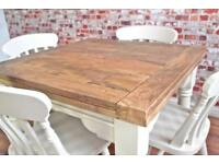 Rustic Extending Hardwood Dining Table and Chairs - Seats 4 - 8 People