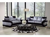 """Fantastic 3+2 Seater Dino Crushed Velvet sofa in """"Grey and Black"""" color!! Order Now EXPRESS DELIVERY"""