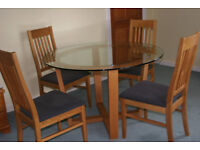Glass round table with 4 chairs