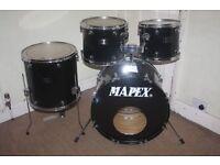 "Vintage Mapex Venus Black 5 Piece Drum kit - 12"" + 13"" + 16"" Toms + 22"" Bass + 14"" Snare DRUMS ONLY"