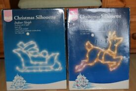 Indoor Light up Sleigh and Reindeer Christmas Decorations