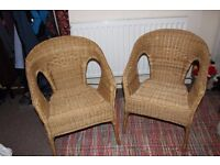 2 wicker chairs- good condition- will take lower offer for a speedy sale