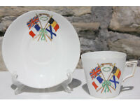 Shelley China Pre 1917 World War 1 Cup and Saucer for Freedom Britain France Belgium Russia