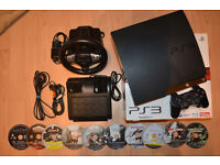 PS3 Bundle - PS3 Slim 120GB + Controller + 10 Games + Steering Wheel & Pedals